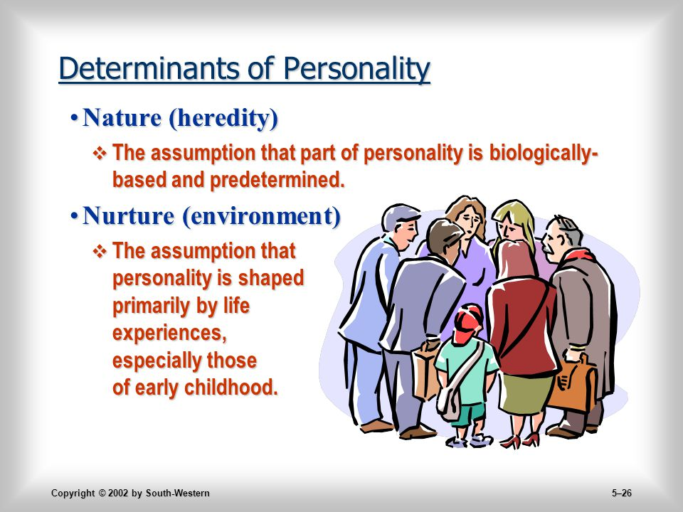 Copyright © 2002 by South-Western 5–26 Determinants of Personality Nature (heredity)Nature (heredity)  The assumption that part of personality is biologically- based and predetermined.