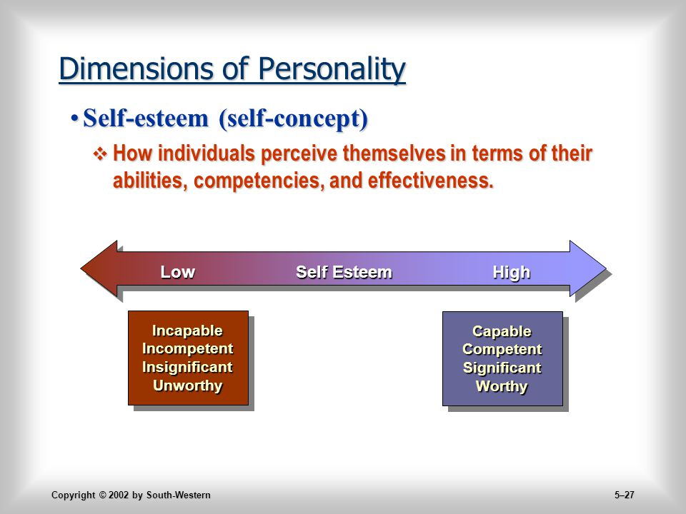 Copyright © 2002 by South-Western 5–27 Dimensions of Personality Self-esteem (self-concept)Self-esteem (self-concept)  How individuals perceive themselves in terms of their abilities, competencies, and effectiveness.