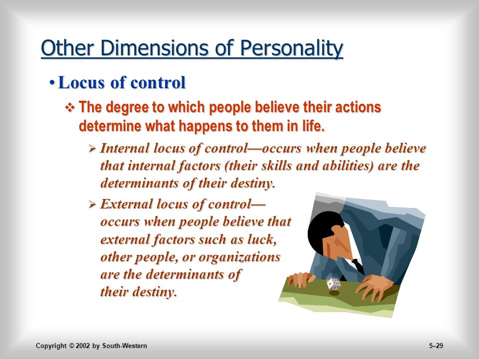 Copyright © 2002 by South-Western 5–29 Other Dimensions of Personality Locus of controlLocus of control  The degree to which people believe their actions determine what happens to them in life.