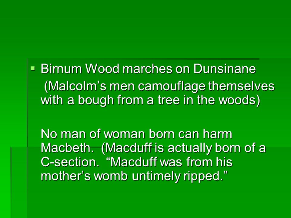  Birnum Wood marches on Dunsinane (Malcolm's men camouflage themselves with a bough from a tree in the woods) (Malcolm's men camouflage themselves with a bough from a tree in the woods) No man of woman born can harm Macbeth.
