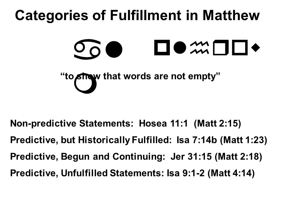 al m plhrow to show that words are not empty Non-predictive Statements: Hosea 11:1 (Matt 2:15) Predictive, but Historically Fulfilled: Isa 7:14b (Matt 1:23) Predictive, Unfulfilled Statements: Isa 9:1-2 (Matt 4:14) Predictive, Begun and Continuing: Jer 31:15 (Matt 2:18) Categories of Fulfillment in Matthew