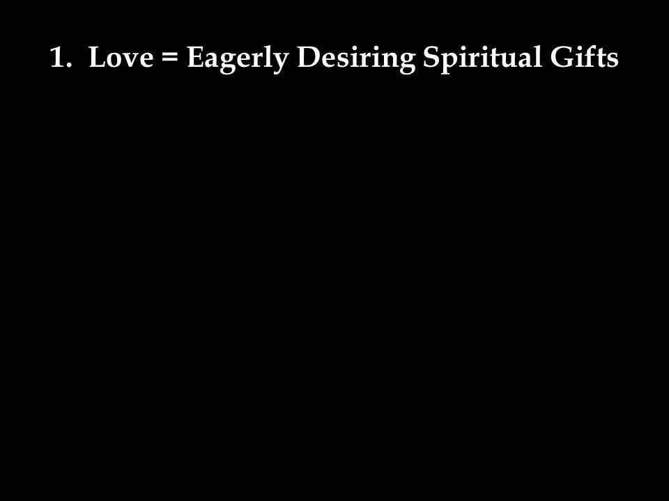 1. Love = Eagerly Desiring Spiritual Gifts