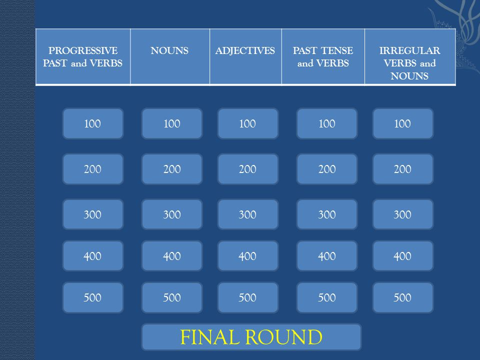 PROGRESSIVE PAST and VERBS NOUNSADJECTIVESPAST TENSE and VERBS IRREGULAR VERBS and NOUNS 100 200 100 200 300 400 300 400 500 FINAL ROUND
