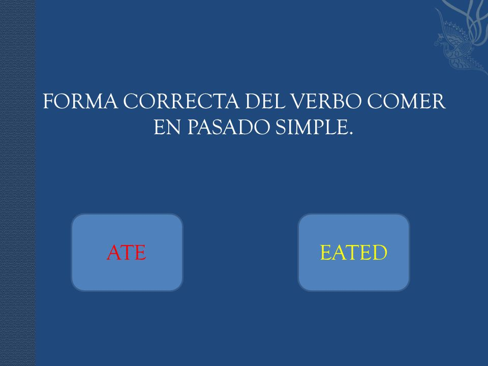 FORMA CORRECTA DEL VERBO COMER EN PASADO SIMPLE. ATEEATED
