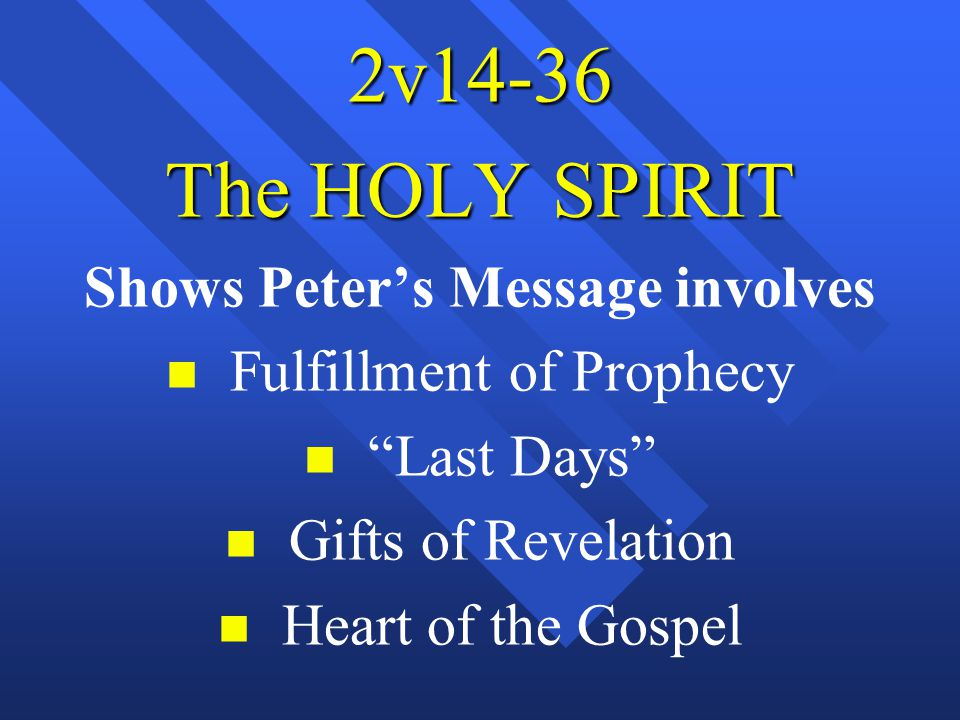 "2v14-36 The HOLY SPIRIT Shows Peter's Message involves n n Fulfillment of Prophecy n n ""Last Days"" n n Gifts of Revelation n n Heart of the Gospel"