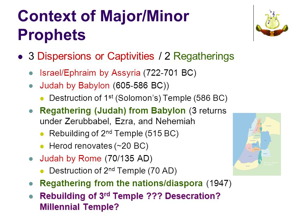 Context of Major/Minor Prophets 3 Dispersions or Captivities / 2 Regatherings Israel/Ephraim by Assyria (722-701 BC) Judah by Babylon (605-586 BC)) Destruction of 1 st (Solomon's) Temple (586 BC) Regathering (Judah) from Babylon (3 returns under Zerubbabel, Ezra, and Nehemiah Rebuilding of 2 nd Temple (515 BC) Herod renovates (~20 BC) Judah by Rome (70/135 AD) Destruction of 2 nd Temple (70 AD) Regathering from the nations/diaspora (1947) Rebuilding of 3 rd Temple .