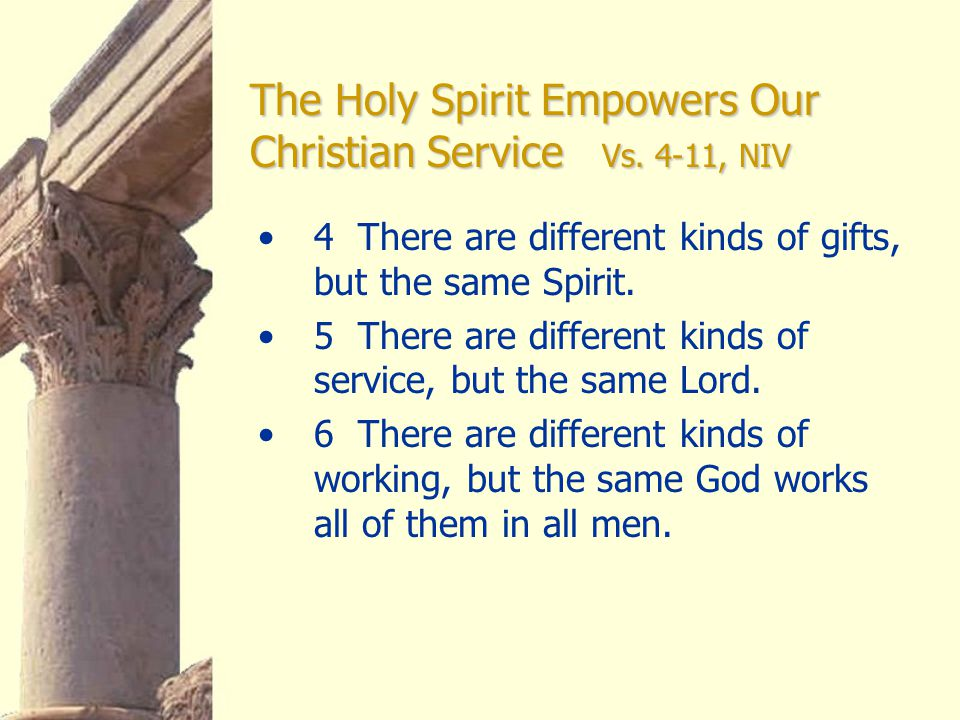 The Holy Spirit Empowers Our Christian Service Vs.