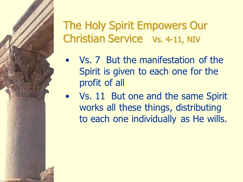 Vs. 7 But the manifestation of the Spirit is given to each one for the profit of all Vs.