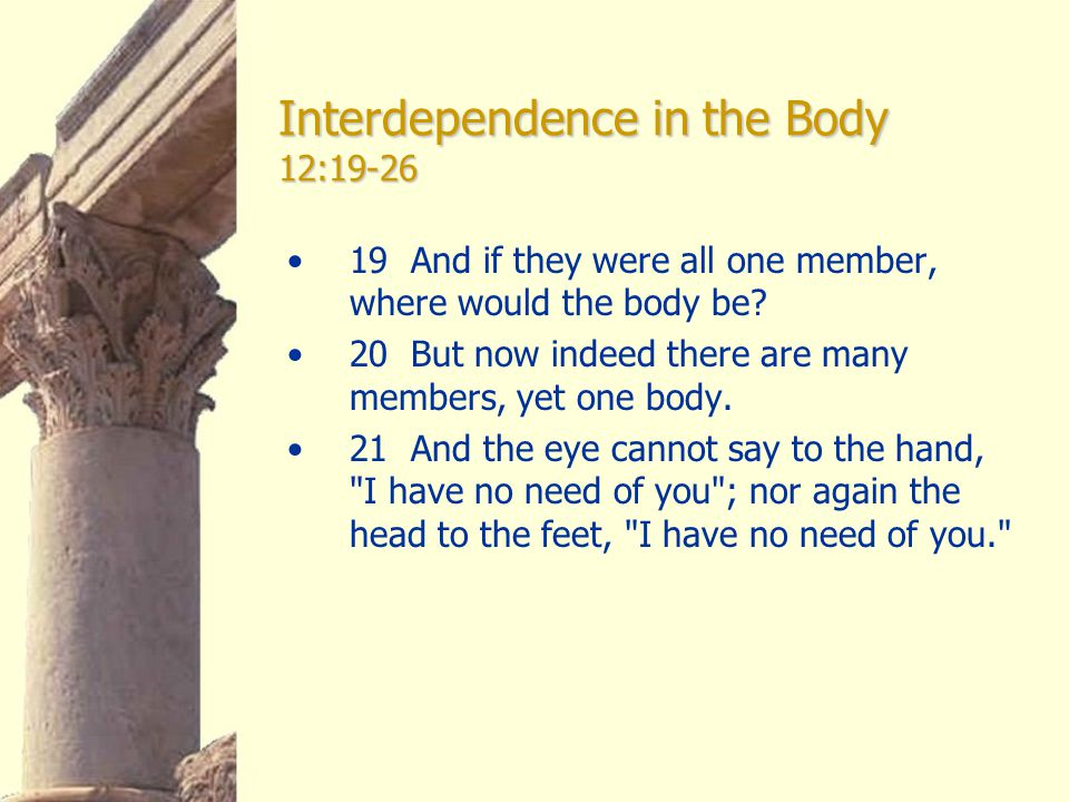 Interdependence in the Body 12:19-26 19 And if they were all one member, where would the body be.