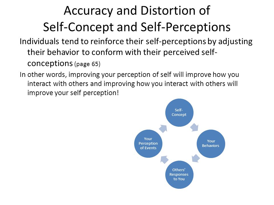 Accuracy and Distortion of Self-Concept and Self-Perceptions Individuals tend to reinforce their self-perceptions by adjusting their behavior to confo