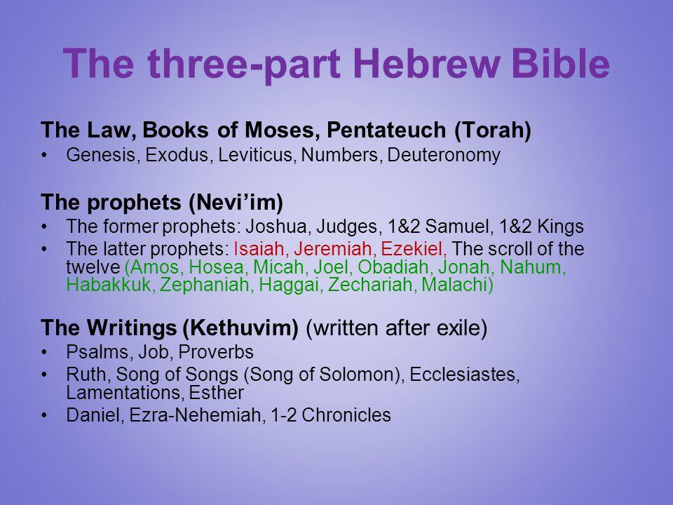 The three-part Hebrew Bible The Law, Books of Moses, Pentateuch (Torah) Genesis, Exodus, Leviticus, Numbers, Deuteronomy The prophets (Nevi'im) The former prophets: Joshua, Judges, 1&2 Samuel, 1&2 Kings The latter prophets: Isaiah, Jeremiah, Ezekiel, The scroll of the twelve (Amos, Hosea, Micah, Joel, Obadiah, Jonah, Nahum, Habakkuk, Zephaniah, Haggai, Zechariah, Malachi) The Writings (Kethuvim) (written after exile) Psalms, Job, Proverbs Ruth, Song of Songs (Song of Solomon), Ecclesiastes, Lamentations, Esther Daniel, Ezra-Nehemiah, 1-2 Chronicles