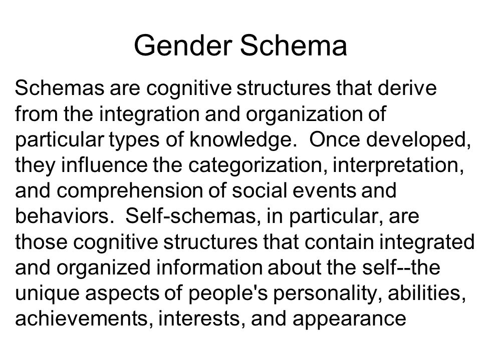 Gender Schema Schemas are cognitive structures that derive from the integration and organization of particular types of knowledge. Once developed, the
