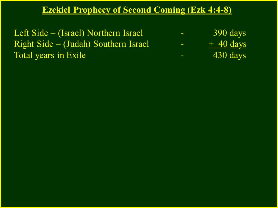 Ezekiel Prophecy of Second Coming (Ezk 4:4-8) Left Side = (Israel) Northern Israel - 390 days Right Side = (Judah) Southern Israel - + 40 days Total years in Exile - 430 days