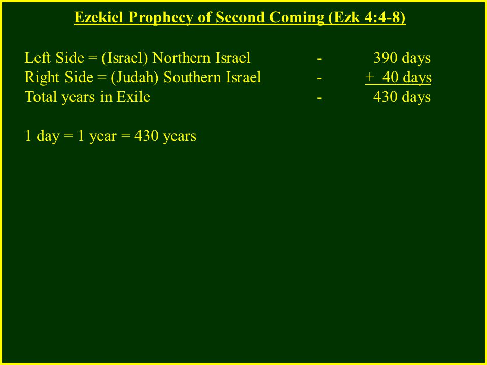 Ezekiel Prophecy of Second Coming (Ezk 4:4-8) Left Side = (Israel) Northern Israel - 390 days Right Side = (Judah) Southern Israel - + 40 days Total years in Exile - 430 days 1 day = 1 year = 430 years