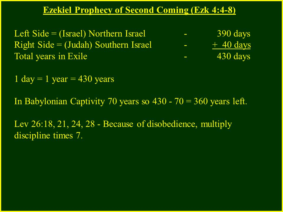 Ezekiel Prophecy of Second Coming (Ezk 4:4-8) Left Side = (Israel) Northern Israel - 390 days Right Side = (Judah) Southern Israel - + 40 days Total y