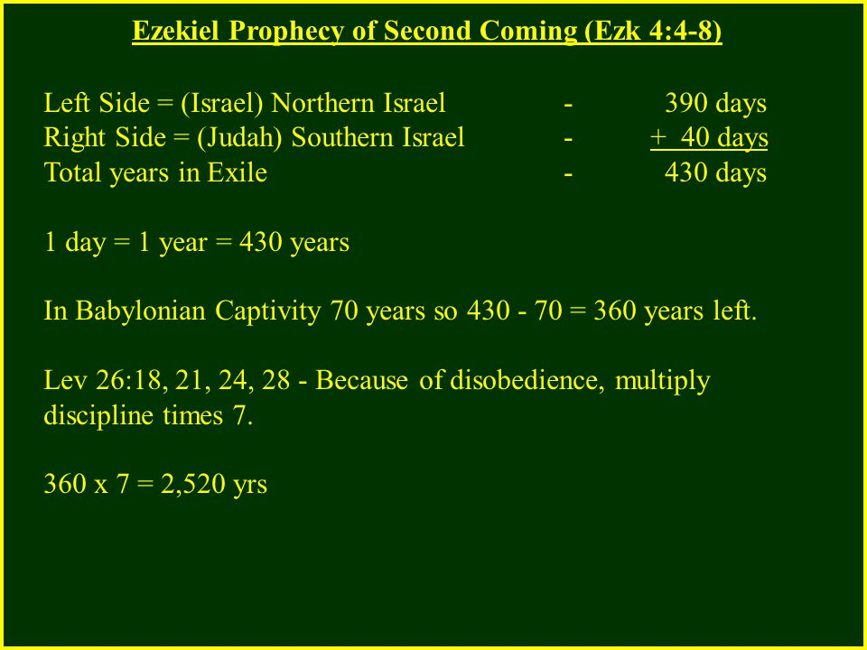Ezekiel Prophecy of Second Coming (Ezk 4:4-8) Left Side = (Israel) Northern Israel - 390 days Right Side = (Judah) Southern Israel - + 40 days Total years in Exile - 430 days 1 day = 1 year = 430 years In Babylonian Captivity 70 years so 430 - 70 = 360 years left.