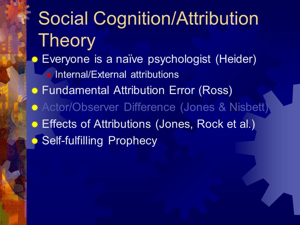 Social Cognition/Attribution Theory  Everyone is a naïve psychologist (Heider)  Internal/External attributions  Fundamental Attribution Error (Ross)  Actor/Observer Difference (Jones & Nisbett)  Effects of Attributions (Jones, Rock et al.)  Self-fulfilling Prophecy