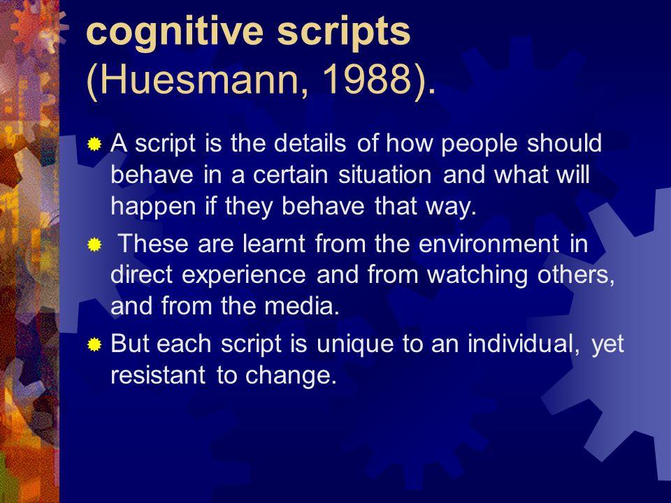 cognitive scripts (Huesmann, 1988).