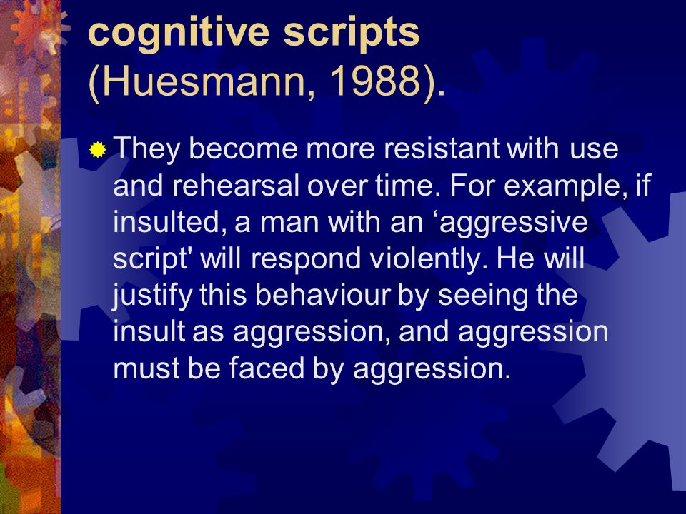 cognitive scripts (Huesmann, 1988).  They become more resistant with use and rehearsal over time. For example, if insulted, a man with an 'aggressive