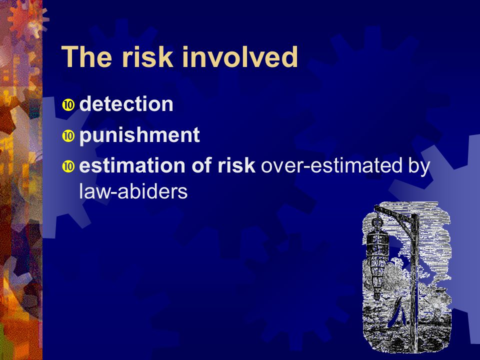 The risk involved  detection  punishment  estimation of risk over-estimated by law-abiders
