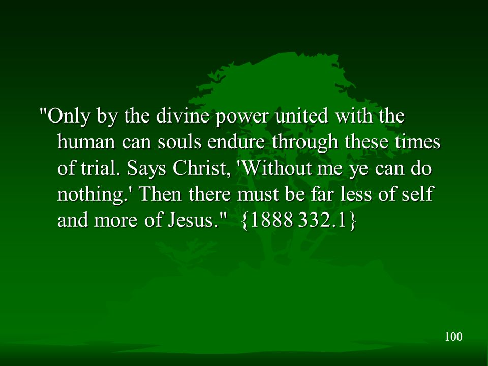 100 Only by the divine power united with the human can souls endure through these times of trial.