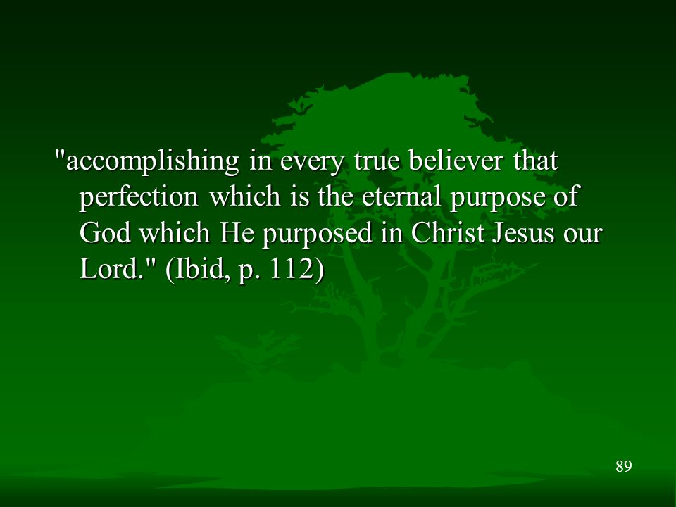 89 accomplishing in every true believer that perfection which is the eternal purpose of God which He purposed in Christ Jesus our Lord. (Ibid, p.