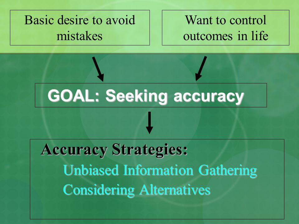 GOAL: Seeking accuracy GOAL: Seeking accuracy Accuracy Strategies: Unbiased Information Gathering Considering Alternatives Basic desire to avoid mista