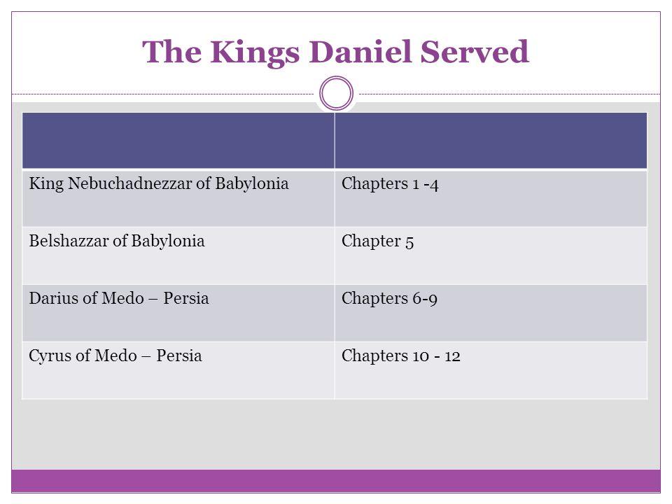 The Kings Daniel Served King Nebuchadnezzar of BabyloniaChapters 1 -4 Belshazzar of BabyloniaChapter 5 Darius of Medo – PersiaChapters 6-9 Cyrus of Me