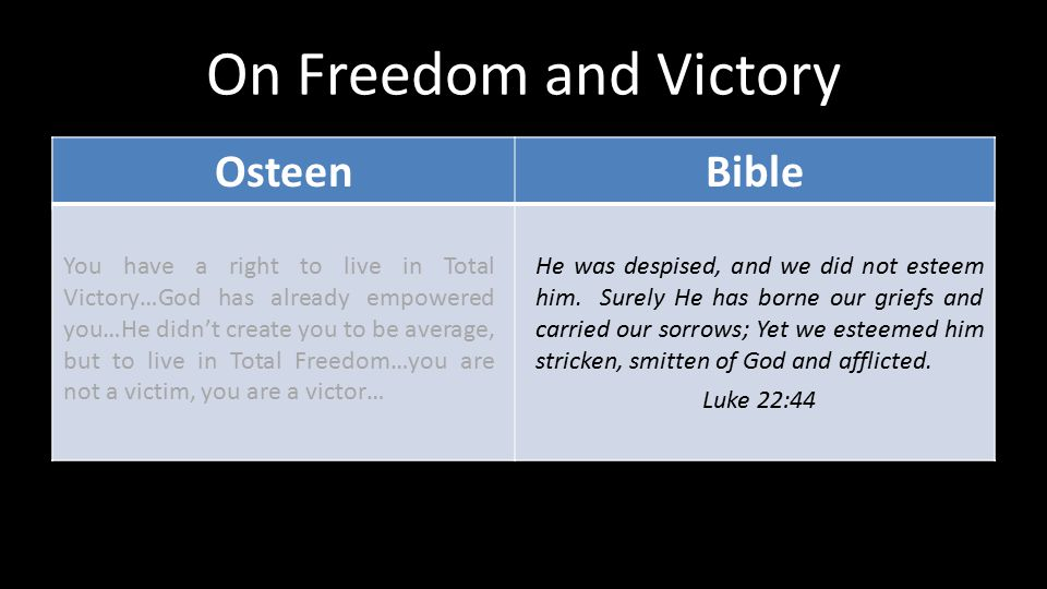 On Freedom and Victory OsteenBible You have a right to live in Total Victory…God has already empowered you…He didn't create you to be average, but to
