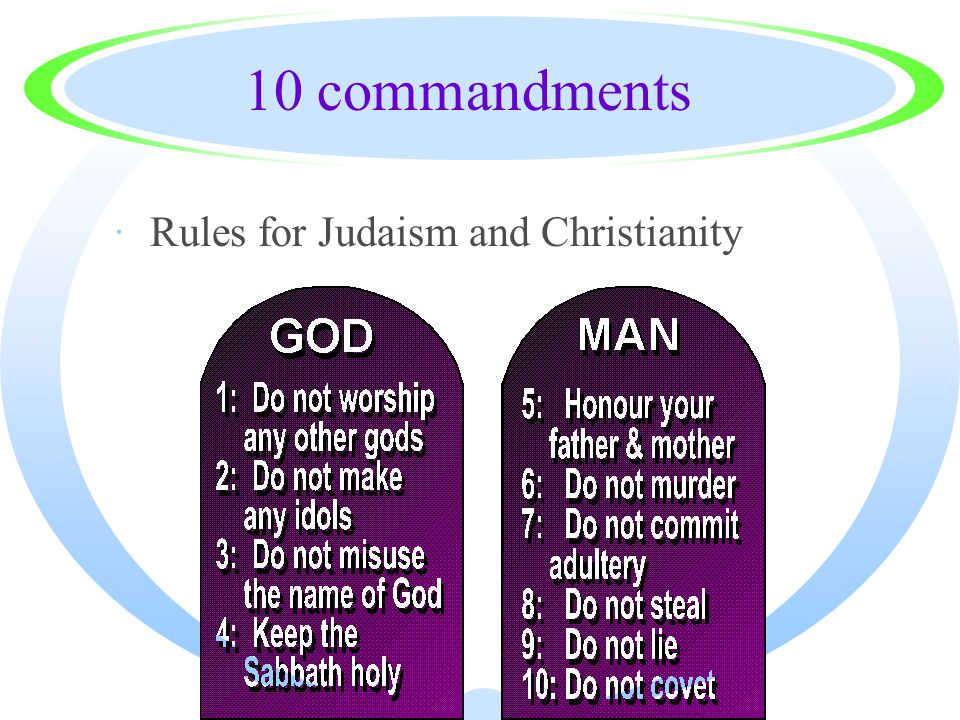 10 commandments ·Rules for Judaism and Christianity