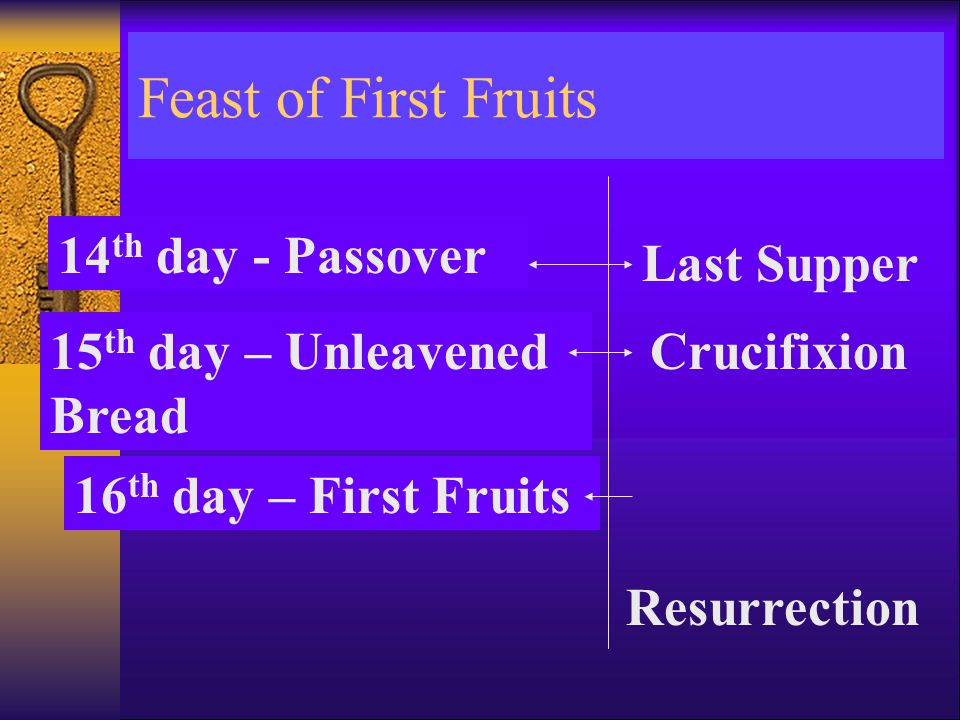 Feast of First Fruits 14 th day - Passover 15 th day – Unleavened Bread 16 th day – First Fruits Last Supper Crucifixion Resurrection