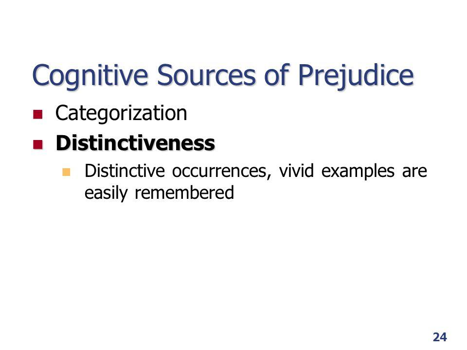 25 Cognitive Sources of Prejudice Categorization Distinctiveness Attribution Attribution Fundamental Attribution Error and Group-Serving Bias Just-World Phenomenon