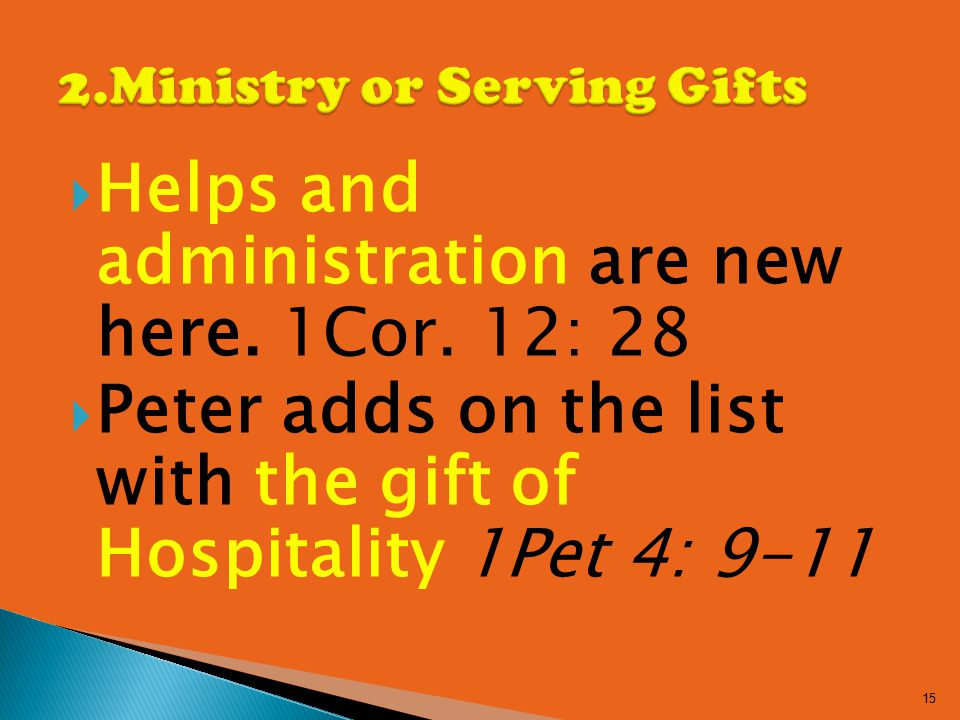  Helps and administration are new here. 1Cor.