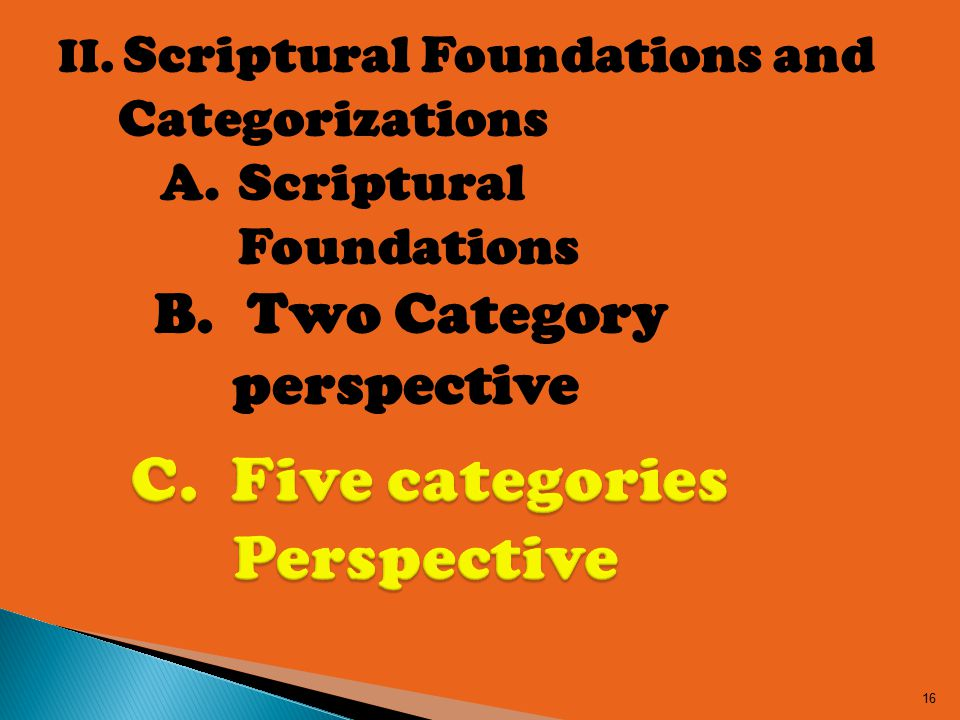 II. Scriptural Foundations and Categorizations 16 A.Scriptural Foundations B.