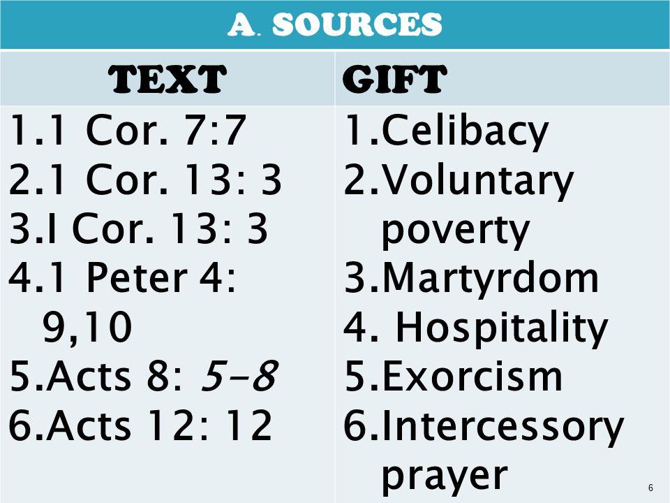 A. SOURCES TEXTGIFT 1.1 Cor. 7:7 2.1 Cor. 13: 3 3.I Cor.