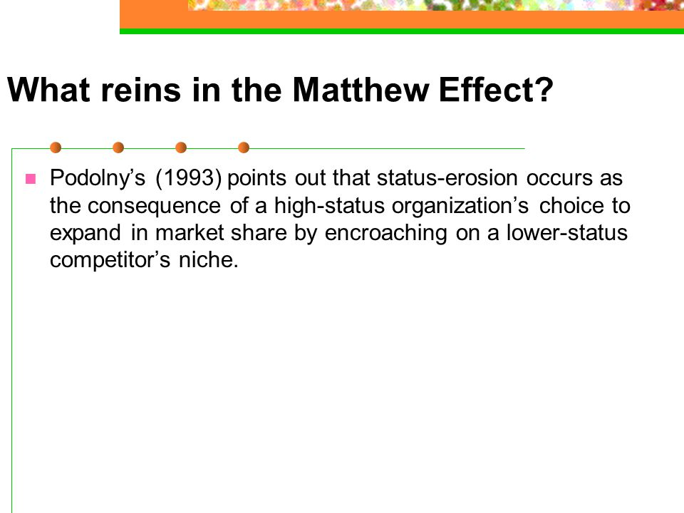 What reins in the Matthew Effect.