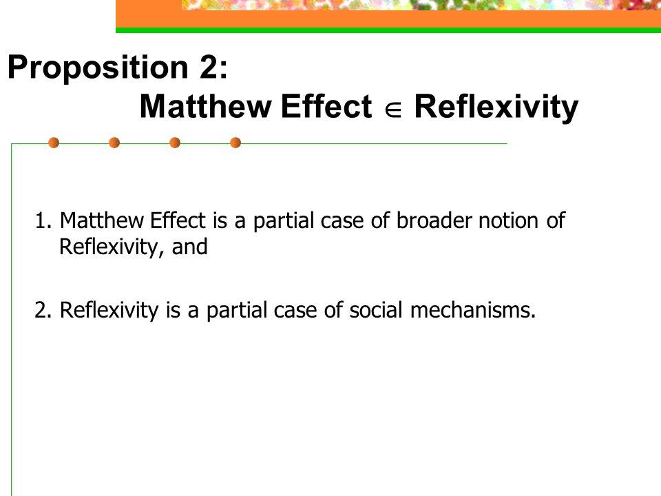 Proposition 2: Matthew Effect  Reflexivity 1.
