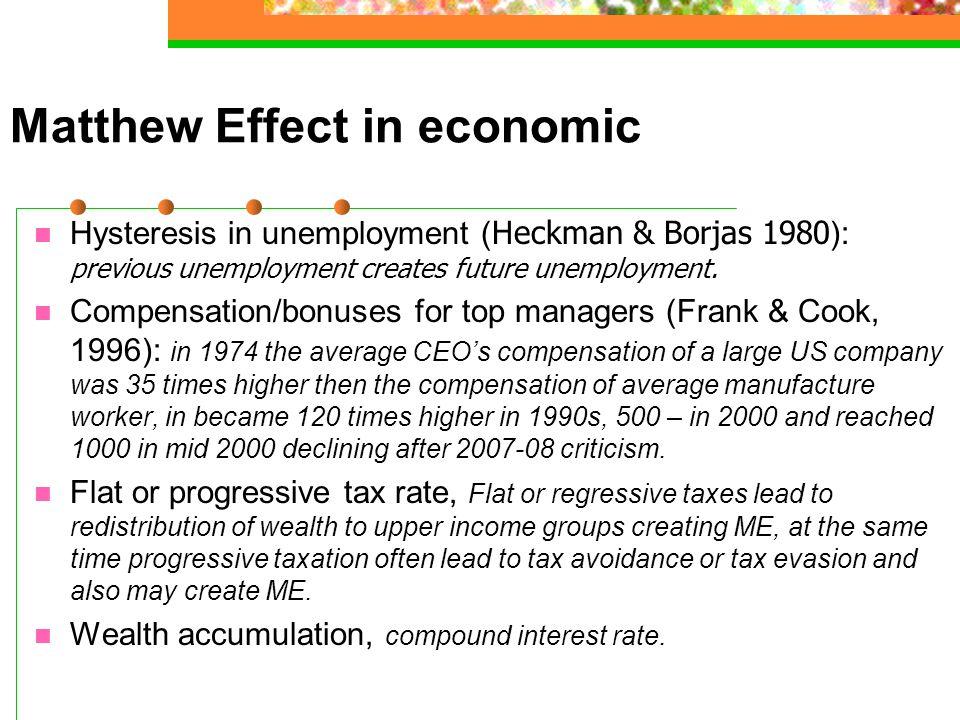 Matthew Effect in economic Hysteresis in unemployment ( Heckman & Borjas 1980 ): previous unemployment creates future unemployment.