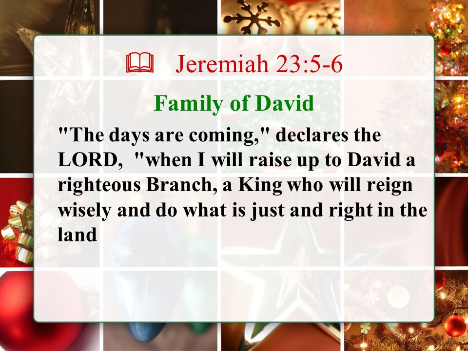  Jeremiah 23:5-6 Family of David