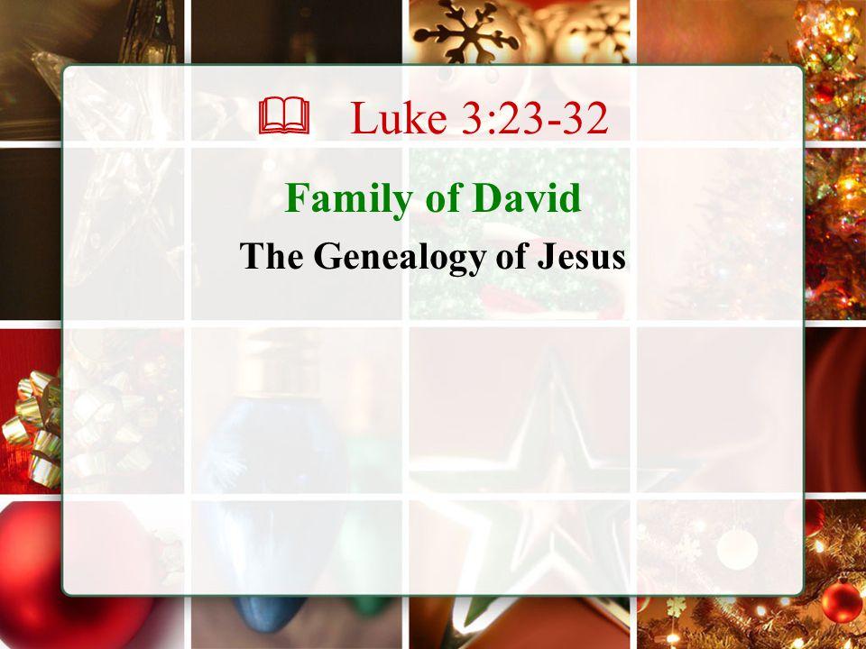  Luke 3:23-32 Family of David The Genealogy of Jesus