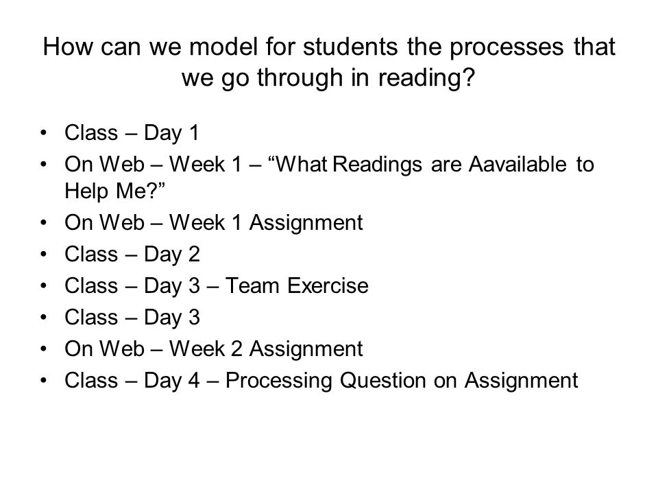 How can we model for students the processes that we go through in reading.