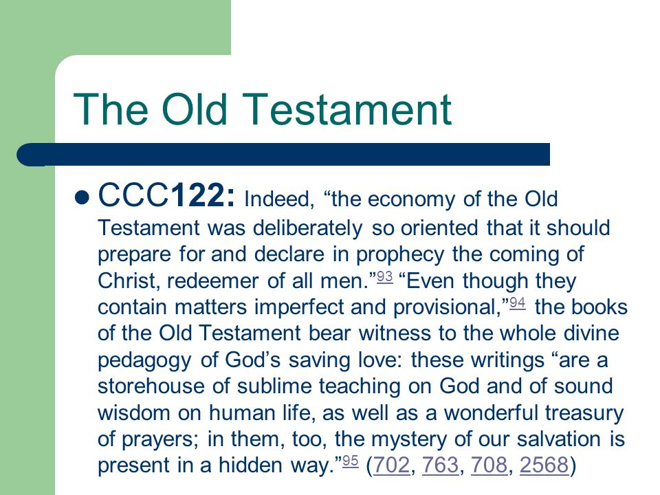The Old Testament The Books of the Old Testament Law History Wisdom Prophecy