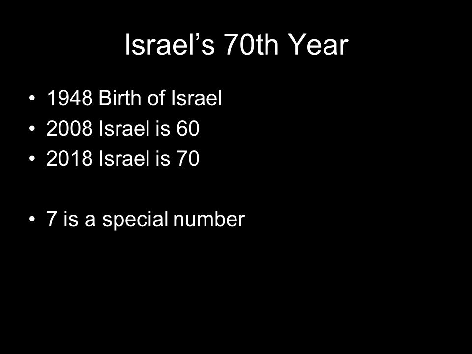 Israel's 70th Year 1948 Birth of Israel 2008 Israel is 60 2018 Israel is 70 7 is a special number