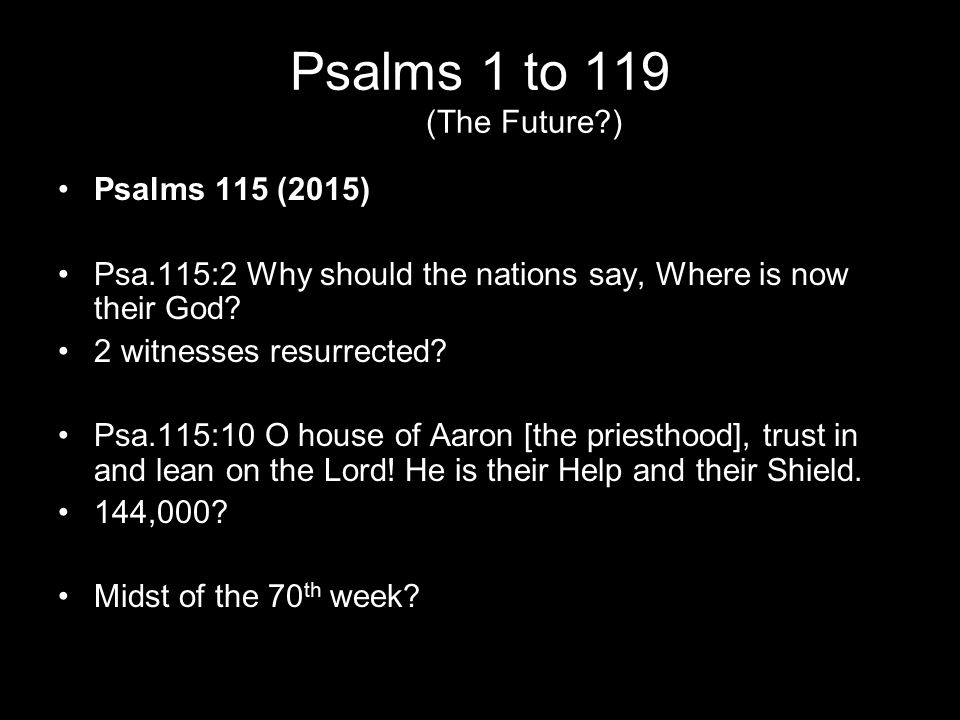 Psalms 1 to 119 (The Future?) Psalms 115 (2015) Psa.115:2 Why should the nations say, Where is now their God? 2 witnesses resurrected? Psa.115:10 O ho