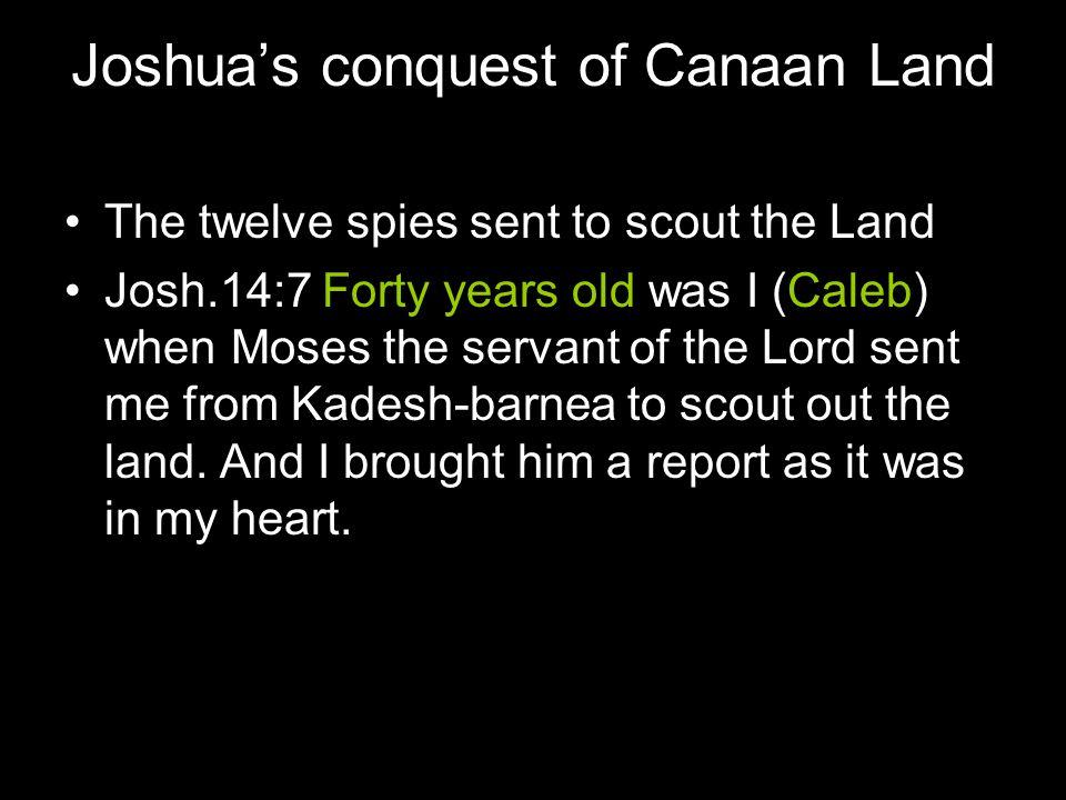 Moses 80 years EXODUS Year 1 EXODUS Year 2 Left Sinai on 2 nd month; Twelve Spies; Caleb 40 years old EXODUS Year 40