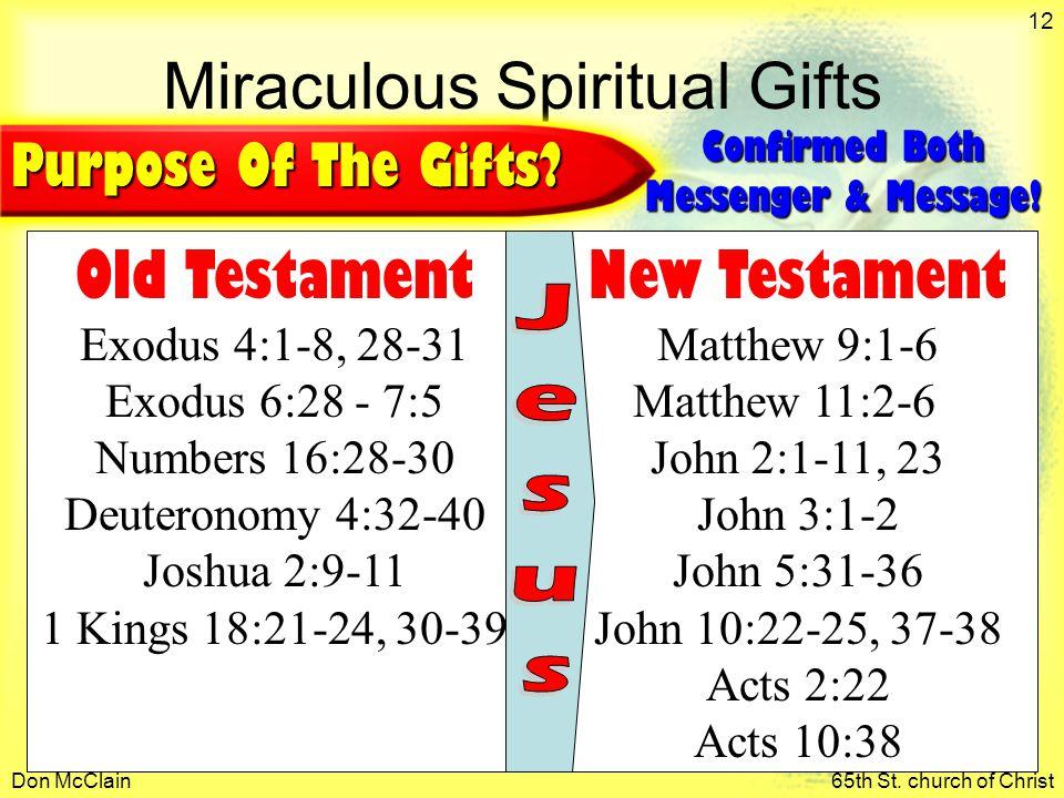 Don McClain65th St. church of Christ 12 Miraculous Spiritual Gifts Old Testament Exodus 4:1-8, 28-31 Exodus 6:28 - 7:5 Numbers 16:28-30 Deuteronomy 4: