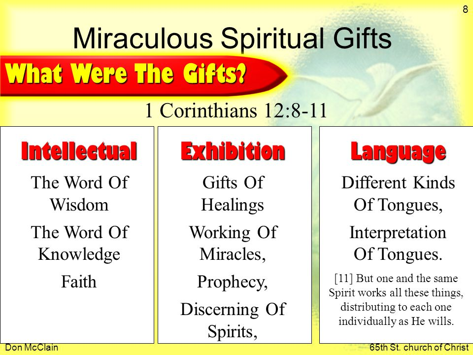 Don McClain65th St. church of Christ 8 Miraculous Spiritual Gifts Intellectual The Word Of Wisdom The Word Of Knowledge Faith [11] But one and the sam