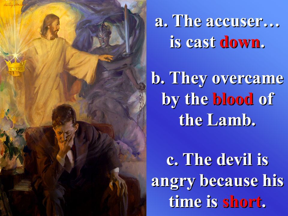 a. The accuser… is cast down. b. They overcame by the blood of the Lamb. c. The devil is angry because his time is short.