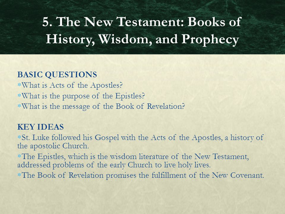 BASIC QUESTIONS  What is Acts of the Apostles?  What is the purpose of the Epistles?  What is the message of the Book of Revelation? KEY IDEAS  St