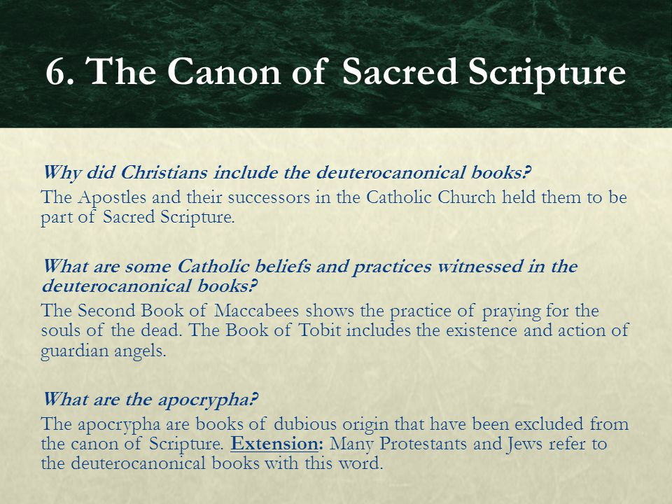 Why did Christians include the deuterocanonical books? The Apostles and their successors in the Catholic Church held them to be part of Sacred Scriptu